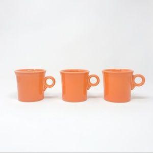 Three Vintage HLC Fiesta USA Orange Mugs